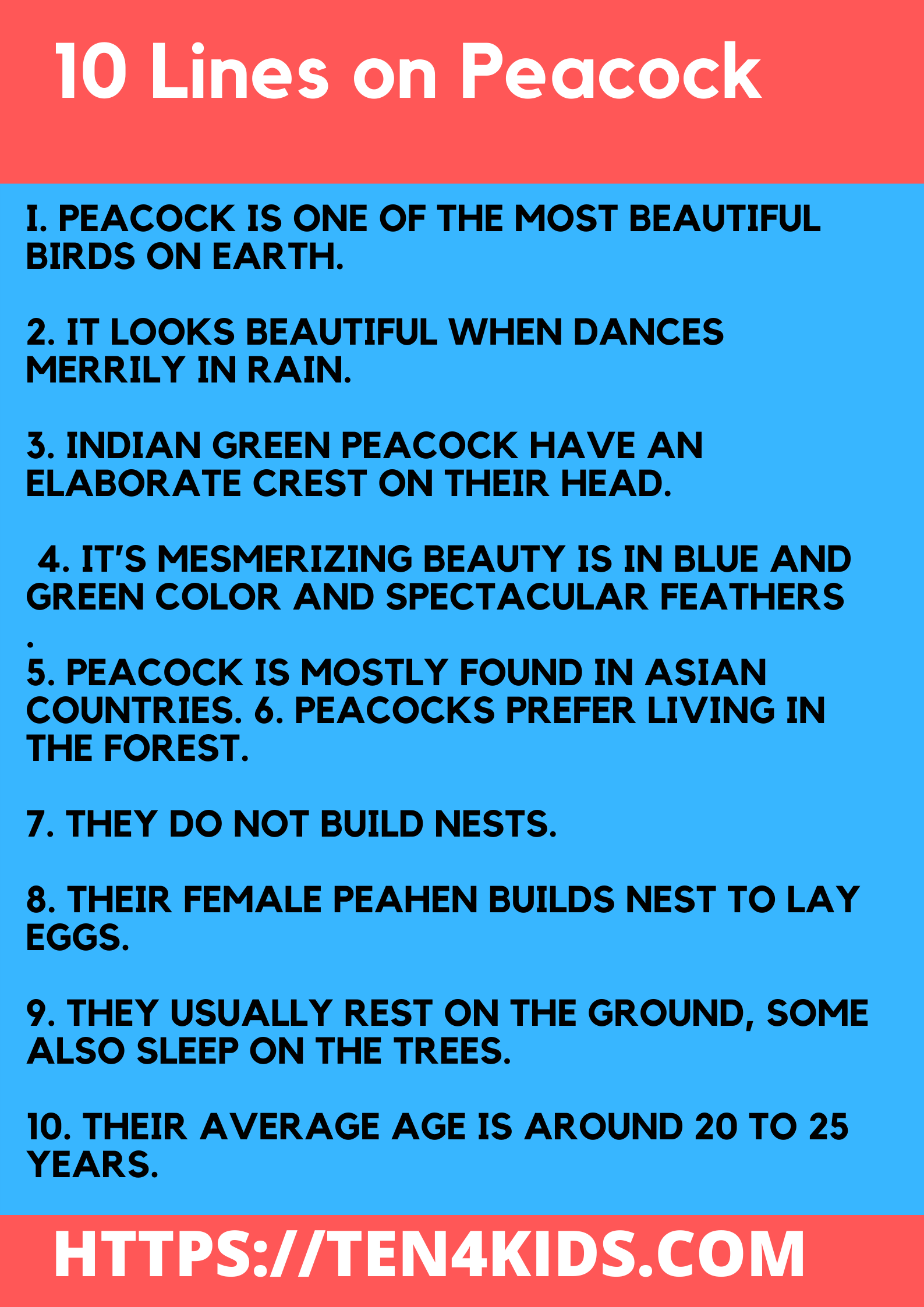 10 Lines essay on Peacock for Students